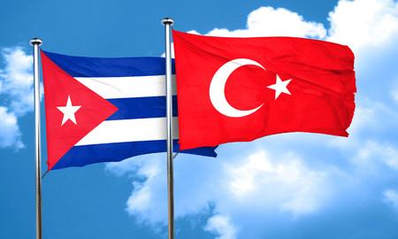 turkey flag: Cuba flag with Turkey flag, 3D rendering Stock Photo