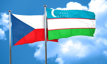 czechoslovakia: czechoslovakia flag with Uzbekistan flag, 3D rendering