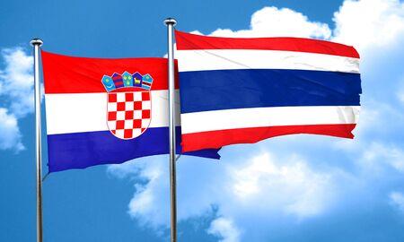 bandera croacia: Bandera de Croacia con la bandera de Tailandia, 3D