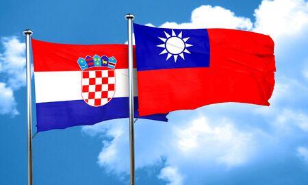croatia: croatia flag with Taiwan flag, 3D rendering