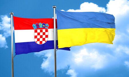 ukraine flag: croatia flag with Ukraine flag, 3D rendering Stock Photo