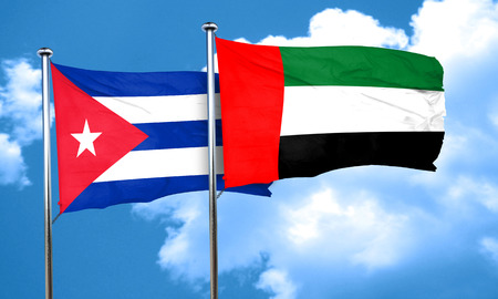 uae: Cuba flag with UAE flag, 3D rendering Stock Photo