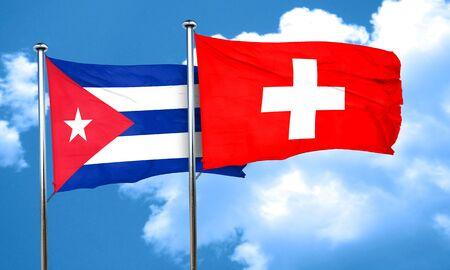 bandera cuba: bandera de Cuba con la bandera Suiza, 3D