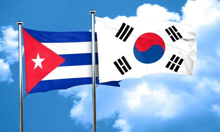 cuba flag: Cuba flag with South Korea flag, 3D rendering