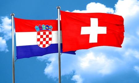 croatia flag: croatia flag with Switzerland flag, 3D rendering