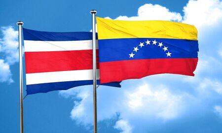 bandera de venezuela: Costa Rica flag with Venezuela flag, 3D rendering