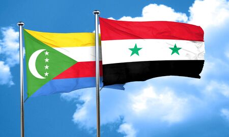 comoros: Comoros flag with Syria flag, 3D rendering Stock Photo