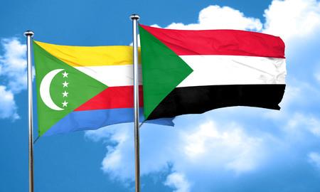 comoros: Comoros flag with Sudan flag, 3D rendering