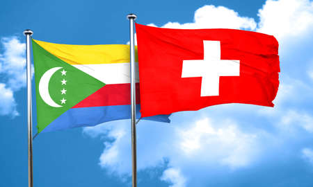 switzerland flag: Comoros flag with Switzerland flag, 3D rendering