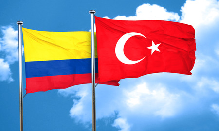 3d turkey: Colombia flag with Turkey flag, 3D rendering Stock Photo