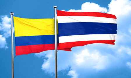 bandera de colombia: Colombia flag with Thailand flag, 3D rendering