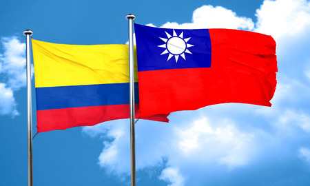 taiwanese: Colombia flag with Taiwan flag, 3D rendering