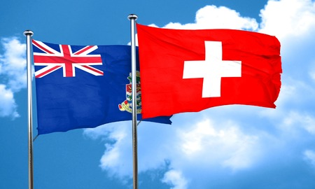 switzerland flag: cayman islands flag with Switzerland flag, 3D rendering