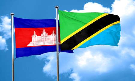 tanzania: Cambodia flag with Tanzania flag, 3D rendering
