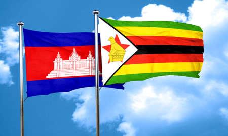 zimbabwe: Cambodia flag with Zimbabwe flag, 3D rendering Stock Photo