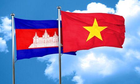 cambodia: Cambodia flag with Vietnam flag, 3D rendering