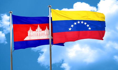 venezuela flag: bandera de Camboya con la bandera de Venezuela, 3D Foto de archivo