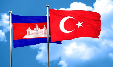 3d turkey: Cambodia flag with Turkey flag, 3D rendering Stock Photo