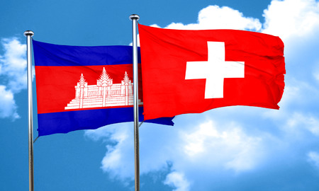 switzerland flag: Cambodia flag with Switzerland flag, 3D rendering