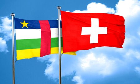 switzerland flag: Central african republic flag with Switzerland flag, 3D rendering Stock Photo