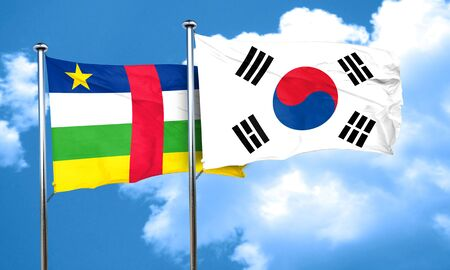 south african flag: Central african republic flag with South Korea flag, 3D rendering