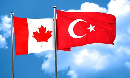 3d turkey: Canada flag with Turkey flag, 3D rendering Stock Photo