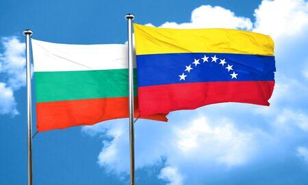 venezuela flag: Bandera de Bulgaria con la bandera de Venezuela, 3D