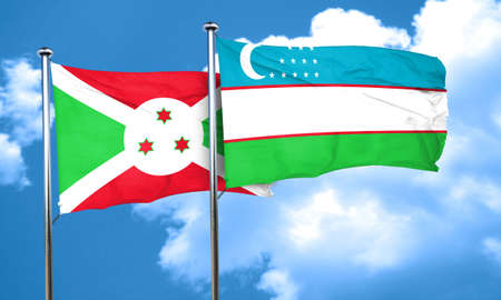 burundi: Burundi flag with Uzbekistan flag, 3D rendering Stock Photo