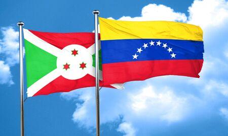 venezuela flag: bandera de Burundi con la bandera de Venezuela, 3D Foto de archivo