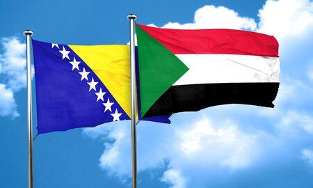 bosnia and herzegovina flag: Bosnia and Herzegovina flag with Sudan flag, 3D rendering