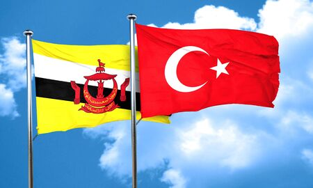 3d turkey: Brunei flag with Turkey flag, 3D rendering Stock Photo