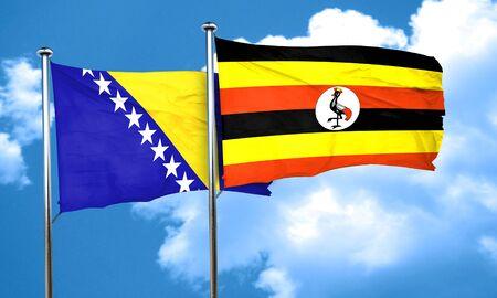 bosnia and herzegovina flag: Bosnia and Herzegovina flag with Uganda flag, 3D rendering
