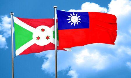 taiwanese: Burundi flag with Taiwan flag, 3D rendering