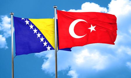 herzegovina: Bosnia and Herzegovina flag with Turkey flag, 3D rendering