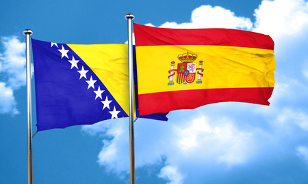 bosnia: Bosnia and Herzegovina flag with Spain flag, 3D rendering Stock Photo