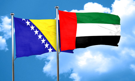 bosnia: Bosnia and Herzegovina flag with UAE flag, 3D rendering
