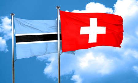 botswana: Botswana flag with Switzerland flag, 3D rendering Stock Photo