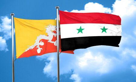 bhutan: Bhutan flag with Syria flag, 3D rendering
