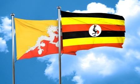 bhutan: Bhutan flag with Uganda flag, 3D rendering Stock Photo