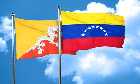 bandera de venezuela: Bandera de Bhut�n con la bandera de Venezuela, 3D Foto de archivo