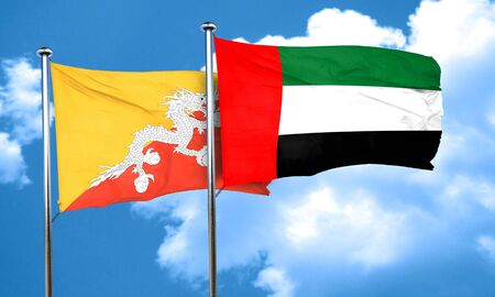 bhutan: Bhutan flag with UAE flag, 3D rendering