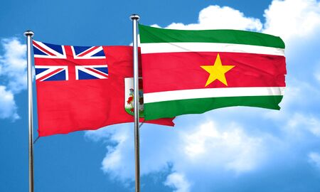 suriname: bermuda flag with Suriname flag, 3D rendering