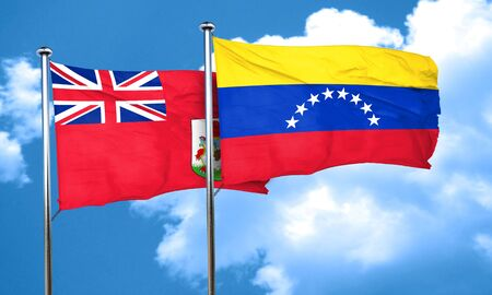venezuela flag: bermuda flag with Venezuela flag, 3D rendering Stock Photo