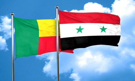 benin: Benin flag with Syria flag, 3D rendering