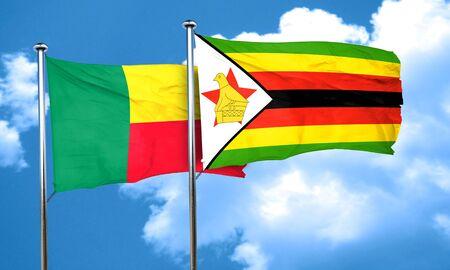 zimbabwe: bandera de Benin con la bandera de Zimbabwe, 3D Foto de archivo