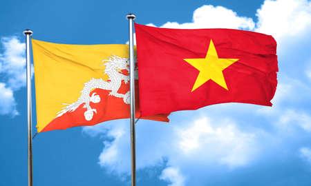 vietnam flag: Bhutan flag with Vietnam flag, 3D rendering