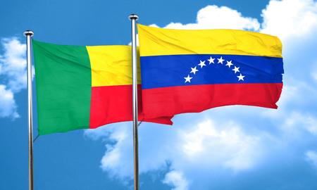 venezuela flag: bandera de Benin con la bandera de Venezuela, 3D