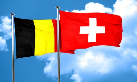 switzerland flag: Belgium flag with Switzerland flag, 3D rendering