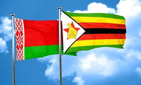 zimbabue: Belarus flag with Zimbabwe flag, 3D rendering