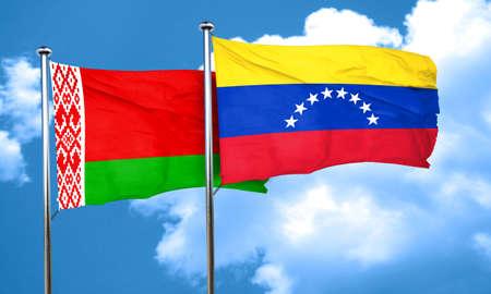 venezuela flag: bandera de Bielorrusia con la bandera de Venezuela, 3D